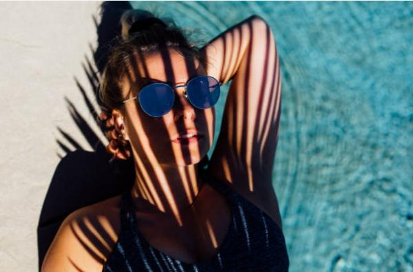 donna, piscina, Black Sun