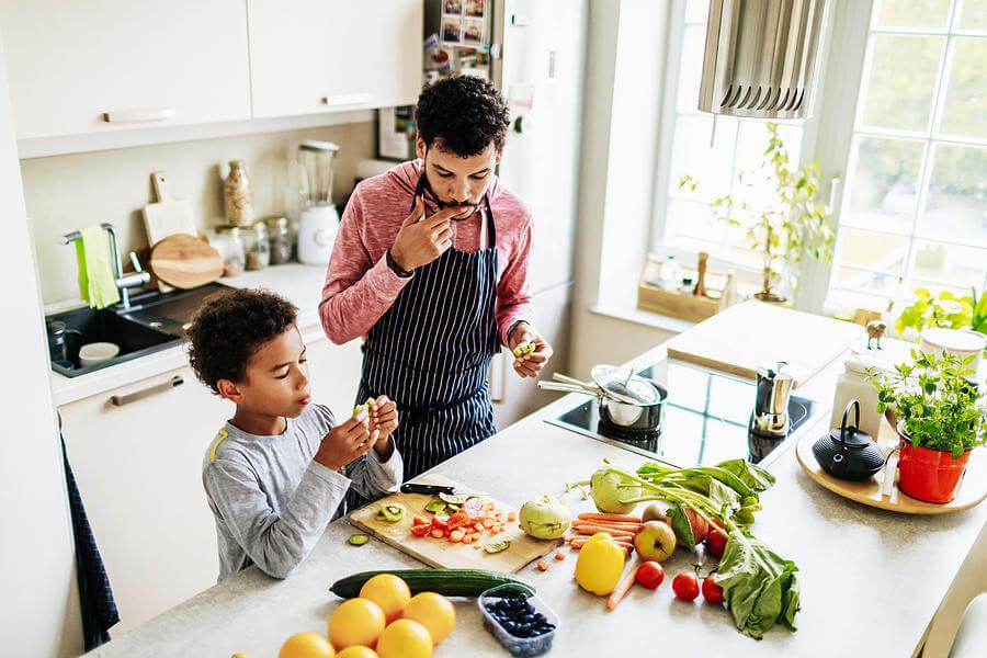 uomo, ragazzo, cucina