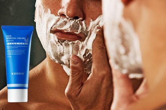 barba, uomo, koogis razorless shaving crema