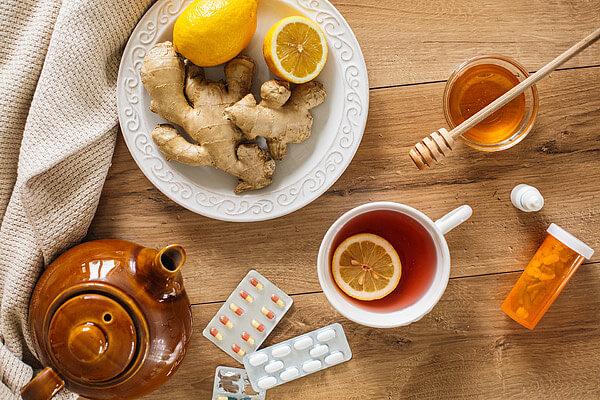 malattie, tè, auto-cura, limoni