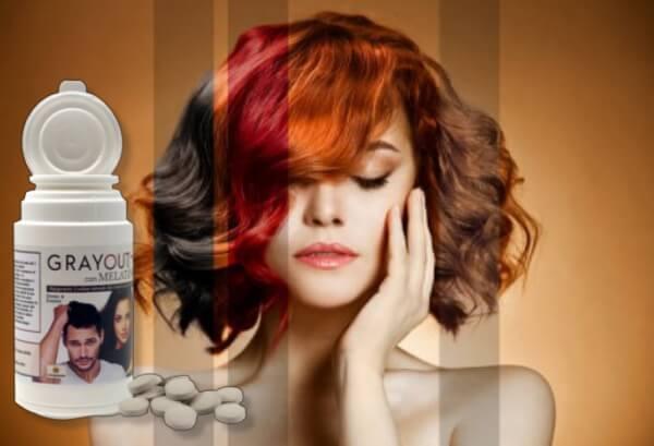 grayout con melatine capsule, capelli, donna